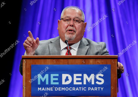 Gubernatorial candidate Mark Dion speaks at the Democratic convention in Lewiston, Maine. Mainers go to the ballot box, Tuesday, June 12, to rank candidates for the first time. It's the biggest test yet of ranked-choice voting