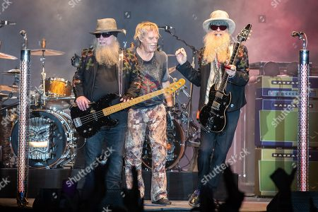 Dusty Hill, Frank Beard, and Billy Gibbons of ZZ Top perform in concert during the Republic of Texas Biker Rally held at the Expo Center in Austin, Texas.