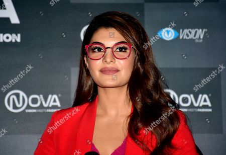 Indian film actress Jacqueline Fernandez poses during the Nova Eyewear brand event