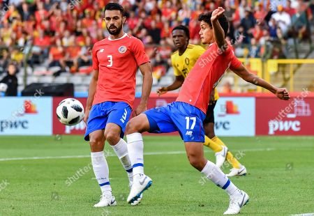 Costa Rica's Giancarlo Gonzalez, left, and Costa Rica's Yeltsin Tejeda during a friendly soccer match between Belgium and Costa Rica at the King Baudouin stadium in Brussels