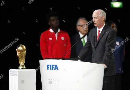 Steven Reed, co-chairman of the Canada?Mexico?United States 2026 FIFA World Cup bid and president of the Canadian Soccer Association speaks during the presentation of the Canada?Mexico?United States 2026 FIFA World Cup bid at the 68th FIFA Congress in Moscow, Russia, 13 June 2018.