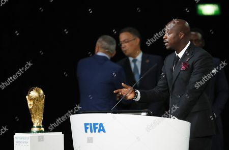 Former Senegalese midfielder Khalilou Fadiga  speaks during the presentation of the Morocco 2026 FIFA World Cup bid at the 68th FIFA Congress in Moscow, Russia, 13 June 2018