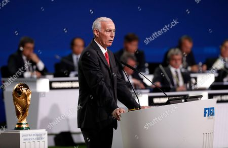 Steven Reed, co-chairman of the Canada, Mexico, United States 2026 FIFA World Cup bid and president of the Canadian Soccer Association speaks during the presentation of the Canada, Mexico, United States 2026 FIFA World Cup bid at the 68th FIFA Congress in Moscow, Russia, 13 June 2018.