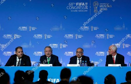 (L-R) Victor Montagliani, president of CONCACAF, Decio de Maria, president of the Mexican Football Federation, Carlos Cordeiro, president of the United States Soccer Federation and Steven Reed, president of the Canadian Soccer Association take part in a joint press conference after the FIFA Congress in Moscow, Russia, 13 June 2018.