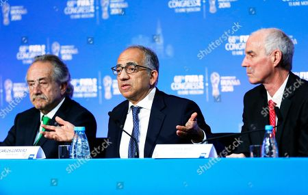 (L-R) Decio de Maria, president of the Mexican Football Federation, Carlos Cordeiro, president of the United States Soccer Federation and Steven Reed, president of the Canadian Soccer Association take part in a joint press conference after the FIFA Congress in Moscow, Russia, 13 June 2018.