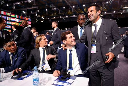 Former soccer players and Real Madrid teammates Michel Slagado (2-L), Iker Casillas, Luis Figo (R) and Clarence Seedorf (center rear) attend the 68th FIFA Congress in Moscow, Russia, 13 June 2018.