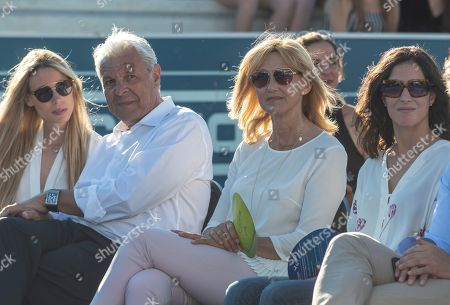 Spanish tennis player Rafael Nadal's parents Sebastian Nadal (2-L) and Ana Maria Parera (2-R), his sister Maribel Nadal (L) and his girlfriend Maria Francisca Perello (R) attend the graduation ceremony of students at the Rafael Nadal Tennis Academy in Manacor, Balearic Islands, eastern Spain, 12 June 2018 (issued 13 June 2018). A total of 17 students took part in the ceremony.