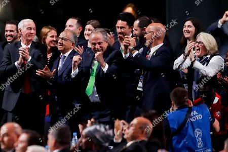 Steve Reed, Carlos Cordeiro, Decio de Maria. Delegates of Canada, Mexico and the United States celebrate after winning a joint bid to host the 2026 World Cup at the FIFA congress in Moscow, Russia, . Standing on front row from left: Steve Reed, president of the Canadian Soccer Association, Carlos Cordeiro, U.S. soccer president and Decio de Maria, President of the Football Association of Mexico