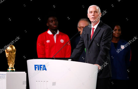 Steve Reed, president of the Canadian Soccer Association speaks at the FIFA congress on the eve of the opener of the 2018 soccer World Cup in Moscow, Russia, . The congress in Moscow is set to choose the host or hosts for the 2026 World Cup