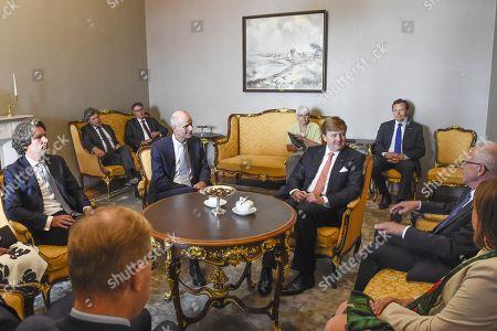 Stock Image of King Willem-Alexander with Eiki Nestor, Stef Blok and Drs. J.T. Versteeg, Grootmeester van het Huis van Z.M. de Koning