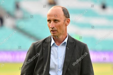 TV commentator and former England captain Nasser Hussain during the One Day International match between England and Australia at the Kia Oval, London. Picture by Graham Hunt
