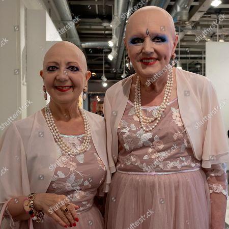 Berlin-based artists Eva and Adele pose at the international art show Art Basel, in Basel, Switzerland, 13 June 2018.