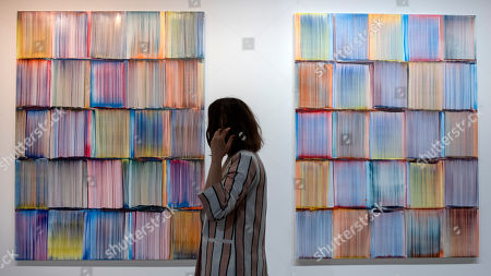 "Stock Image of The artwork ""Reuni"" (2018) by French artist Bernard Frize is on display at the international art show Art Basel, in Basel, Switzerland, 13 June 2018."