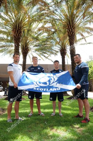 Peter Horne, Matt Fagerson, George Horne and Zander Fagerson - Scotland rugby player. Scotland press conference, Double Tree by Hilton Hotel, Houston, Texas, America, Wednesday 13th June 2018 ***Please credit: ©Fotosport/David Gibson***