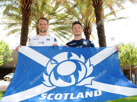 Matt Fagerson and George Horne - Scotland rugby players who will make their debuts against USA in Houston, Texas this Saturday. Scotland press conference, Double Tree by Hilton Hotel, Houston, Texas, America, Wednesday 13th June 2018 ***Please credit: ©Fotosport/David Gibson***