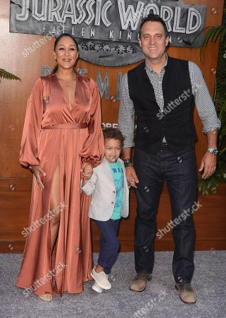 Stock Picture of Tamera Mowry-Housley, husband Adam Housley and son Aden Housely