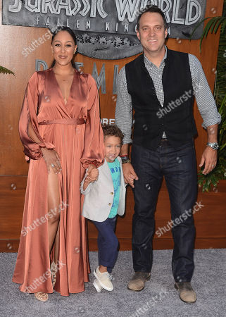 Stock Photo of Tamera Mowry-Housley, husband Adam Housley and son Aden Housely