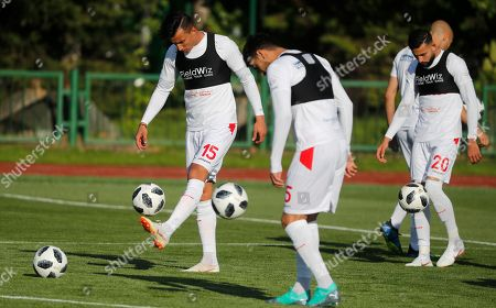 Tunisian players Ahmed Khalil (L), Oussama Haddadi (C) and Ghaylen Chaaleli (R) attend a training session of the Tunisian national soccer team in Moscow, Russia, 13 June 2018. Tunisia prepares for the FIFA World Cup 2018 taking place in Russia from 14 June until 15 July 2018.