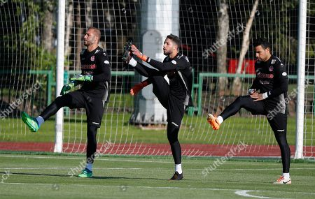 (L-R) Tunisian goalkeepers Farouk Ben Mustapha, Mouez Hassen and Aymen Mathlouthi attend a training session of the Tunisian national soccer team in Moscow, Russia, 13 June 2018. Tunisia prepares for the FIFA World Cup 2018 taking place in Russia from 14 June until 15 July 2018.