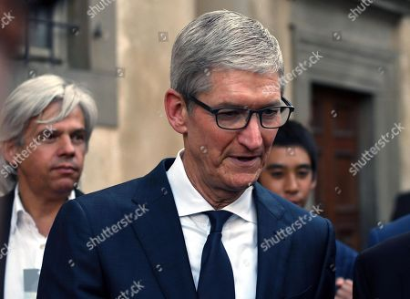 Stock Photo of Chief Executive Officer of Apple, Tim Cook during fashion show Roberto Cavalli presenting the first men's collection designed by Paul Surridge, during 94th 'Pitti Immagine Uomo' in Florence, Italy, 13 June 2018.