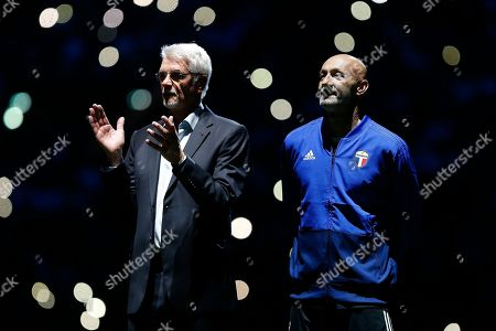 Stock Picture of France's 1998 World Cup champion coach Aime Jacquet, left, and France's 1998 World Cup champion goalkeeper Fabien Barthez arrive to attend a charity soccer match between members of the 1998 World Cup winning French team and a team of international veteran players who were also involved in the same tournament, at the U Arena in Nanterre, north of Paris, France