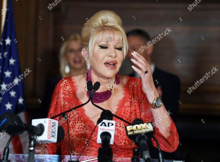 """Ivana Trump announces new """"Italiano Diet"""" to stay healthy and fight obesity at the Oak Room at the Plaza Hotel, in New York"""