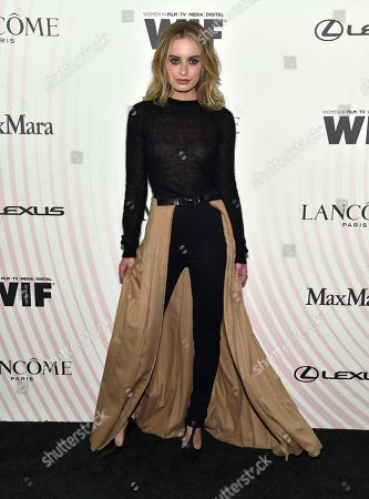 Stock Image of Sonya Esman arrives at the Women In Film Crystal and Lucy Awards at the Beverly Hilton Hotel, in Beverly Hills, Calif