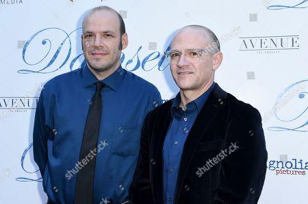 """David Zellner, Nathan Zellner. David Zellner, left, and Nathan Zellner attend the LA Premiere of """"Damsel"""" at ArcLight Hollywood, in Los Angeles"""