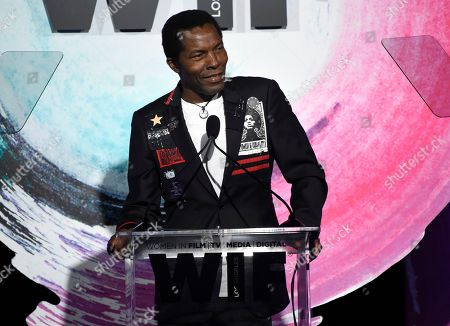 Isaach De Bankole speaks at the Women In Film Crystal and Lucy Awards at the Beverly Hilton Hotel, in Beverly Hills, Calif