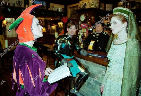 Ep 2536  Tuesday 15th June 1999 Bernice holds a 'Camelot' Theme Night in The Woolpack, looking resplendent as Guinevere, with Gavin as a dashing Lancelot. Bernice though turns Tricia into the laughing stock of the village with her costume of a court jester. Vengeful, Tricia decides bring pain to Bernice's world by reading out her life plan to the pub - With Bernice Blackstock, as played by Samantha Giles ; Tricia Stokes, as played by Sheree Murphy ; Alan Turner, as played by Richard Thorp ; Gavin Ferris, as played by Robert Beck.