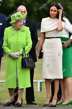 Queen Elizabeth II, Meghan Duchess of Sussex open the new Mersey Gateway Bridge.