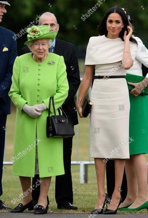 Meghan Duchess of Sussex and Queen Elizabeth II open the new Mersey Gateway Bridge