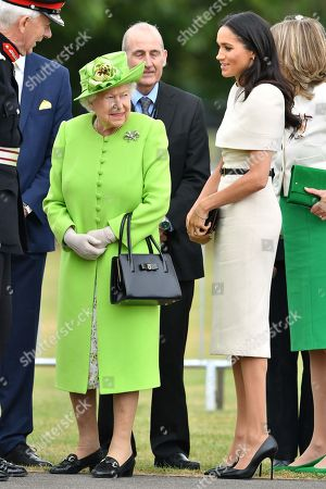 Queen Elizabeth II, Meghan Duchess of Sussex open the new Mersey Gateway Bridge.