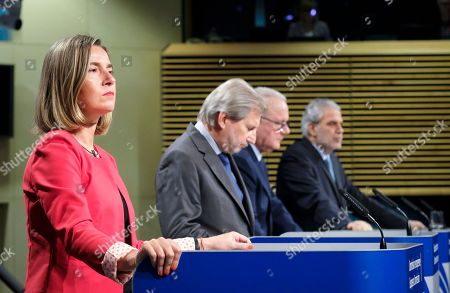 (L-R) European Commissioners Federica Mogherini (High Representative of the European Union for Foreign Affairs and Security Policy), Johannes Hahn (European Neighborhood Policy), Neven Mimica (International Cooperation and Development) and Christos Stylianides (Humanitarian Aid and Crisis Management) give a press conference on the EU budget 2021-2027 for external action, in Brussels, Belgium, 14 June 2018. According to a press release, the European Commission proposes an increase to the external action budget by 30 percent to 123 billion euro between 2012 and 2027.