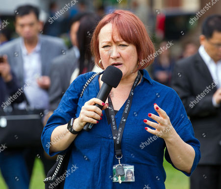 Kerry McCarthy, Member of Parliament for Bristol East, speaks at the event in Parliament square.