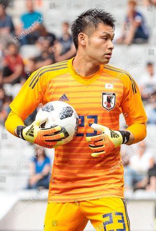 Japan's goalkeeper Kosuke Nakamura reacts during the international friendly soccer match between Japan and Paraguay at the Tivoli Stadium in Innsbruck, Austria, 12 June 2018.