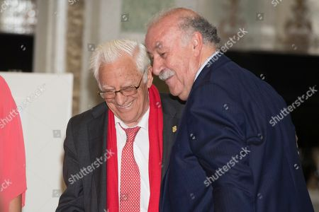 Father Angel and ex-coach and former Spanish footballer Vicente del Bosque.