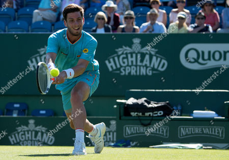 Cameron Norrie (GBR) in action against Daniel Brands at Eastbourne
