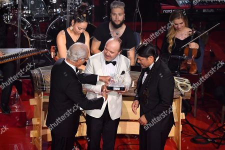King Carl Gustaf, Robert Trujillo and Lars Ulrich from Metallica