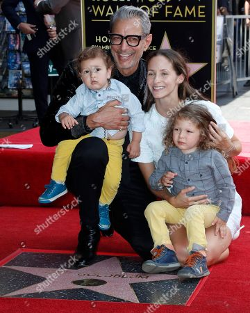 US actor Jeff Goldblum (2-L) along with sons River Joe (L), Charlie Ocean (R) and wife Emilie Livingston (2-R) pose with his star on the Hollywood Walk of Fame during ceremony