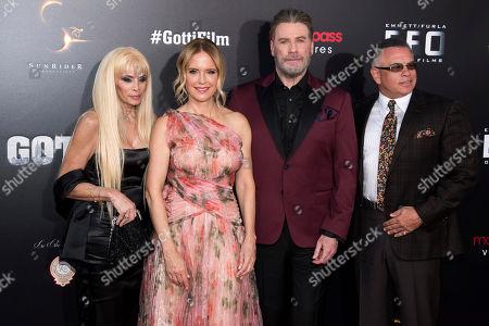 """John Travolta, Kelly Preston, John Gotti Jr., Victoria Gotti. Victoria Gotti, from left, Kelly Preston, John Travolta and John Gotti, Jr. attend the premiere of """"Gotti"""" at the SVA Theatre, in New York"""