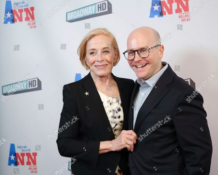 """Stock Photo of Holland Taylor, Benjamin Endsley Klein. Actress Holland Taylor, left, and director Benjamin Endsley Klein attend a special screening of """"Ann"""" at the Elinor Bunin Munroe Film Center, in New York"""
