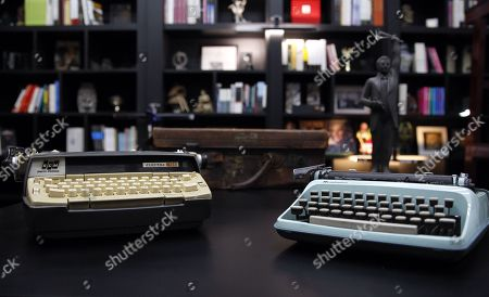 Stock Image of A close-up of some objects exhibited in the library of the Elena Poniatowska Foundation during its inauguration in Mexico City, Mexico, 14 June 2018. Elena Poniatowska opened a new cultural venue in the Mexican capital, a space in which different artistic expressions will coexist and will keep her personal archive.