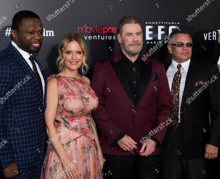 "John Travolta, Kelly Preston, John Gotti, Jr., Curtis Jackson, 50 Cent. Curtis ""50 Cent"" Jackson, left, Kelly Preston, John Travolta and John Gotti, Jr. attend the premiere of ""Gotti"" at the SVA Theatre, in New York"