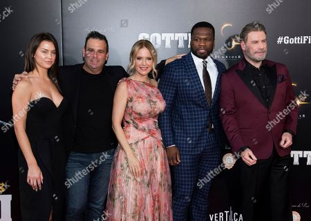"Kelly Preston, Randall Emmett, Lala Kent, Curtis Jackson, 50 Cent, John Travolta. Lala Kent, left, Randall Emmett, Kelly Preston, Curtis ""50 Cent"" Jackson and John Travolta attend the premiere of ""Gotti"" at the SVA Theatre, in New York"