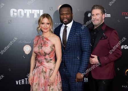 "John Travolta, Kelly Preston, Curtis Jackson, 50 Cent. Kelly Preston, left, Curtis ""50 Cent"" Jackson and John Travolta attend the premiere of ""Gotti"" at the SVA Theatre, in New York"