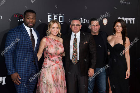 "Kelly Preston, John Gotti, Jr., Randall Emmett, Lala Kent, Curtis Jackson, 50 Cent. Curtis ""50 Cent"" Jackson, left, Kelly Preston, John Gotti, Jr., Randall Emmett and Lala Kent attend the premiere of ""Gotti"" at the SVA Theatre, in New York"