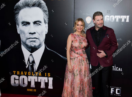 "John Travolta, Kelly Preston. Kelly Preston and John Travolta attend the premiere of ""Gotti"" at the SVA Theatre, in New York"