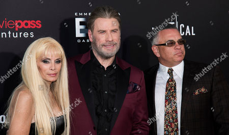 """John Travolta, Victoria Gotti, John Gotti, Jr. Victoria Gotti, left, John Travolta and John Gotti, Jr. attend the premiere of """"Gotti"""" at the SVA Theatre, in New York"""