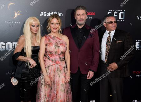 """John Travolta, Kelly Preston, John Gotti, Jr., Victoria Gotti. Victoria Gotti, left, Kelly Preston, John Travolta and John Gotti, Jr. attend the premiere of """"Gotti"""" at the SVA Theatre, in New York"""